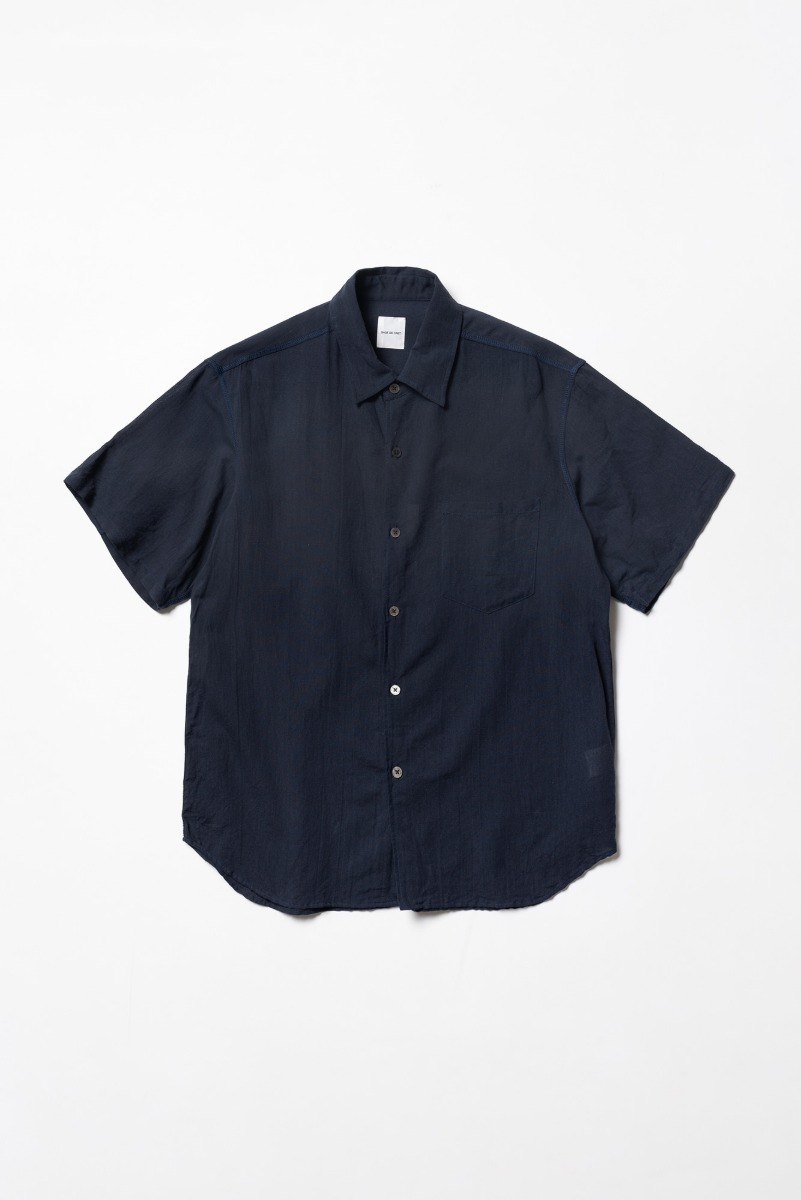 "SAGE DE CRET Short sleeve regular collar Shirt ""Navy"""