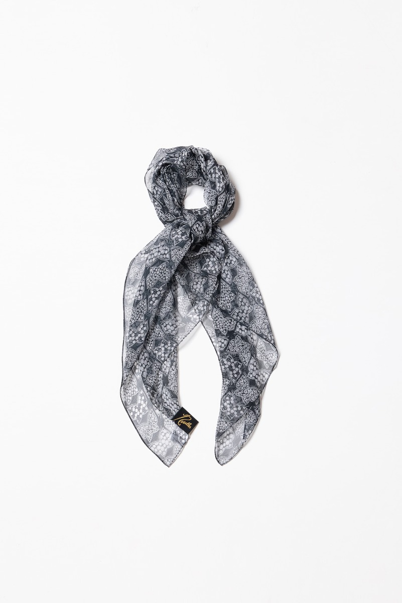 "Needles Scarf Silk Crepe / Papillon ""Charcoal"""