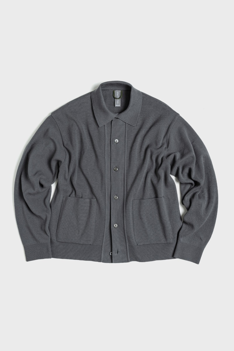 "UNAFFACTED Knitted Shirt Cardigan ""Charcoal Blue"""