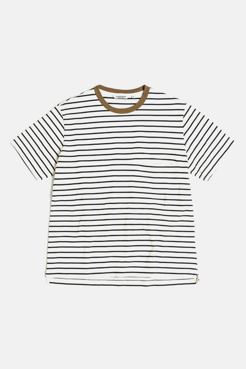 "EASTLOGUE One Pocket Border T-Shirt ""Ecru & Black"""