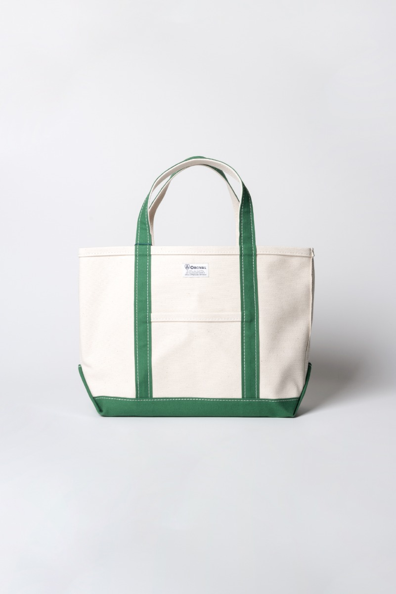 "ORCIVAL Large 24oz HANPU Canvas Tote Bag ""Ecru x Green"""