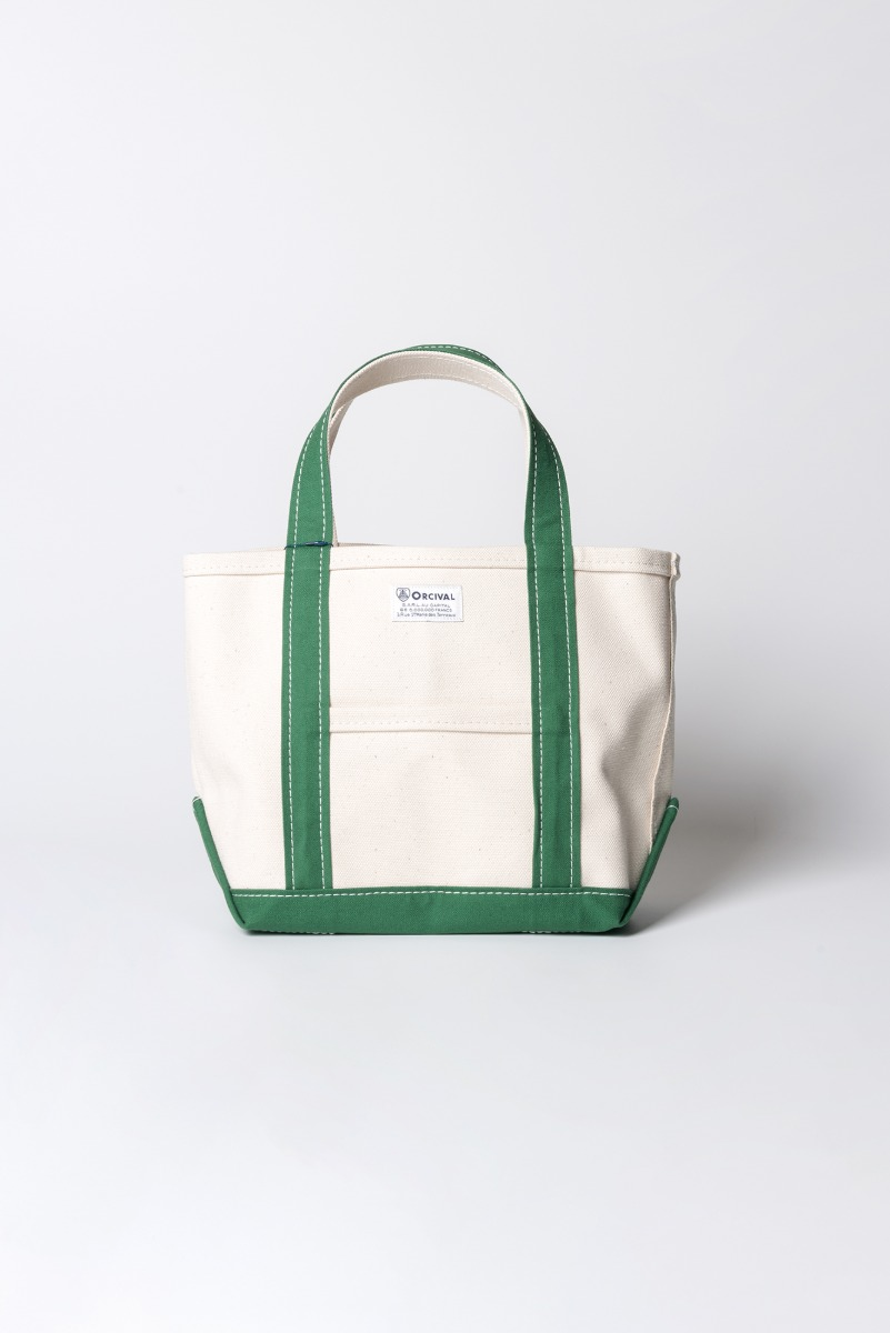"ORCIVAL Small 24oz HANPU Canvas Tote Bag ""Ecru x Green"""