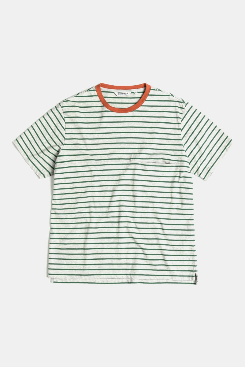 "EASTLOGUE One Pocket Border T-Shirt ""Grey& Green"""