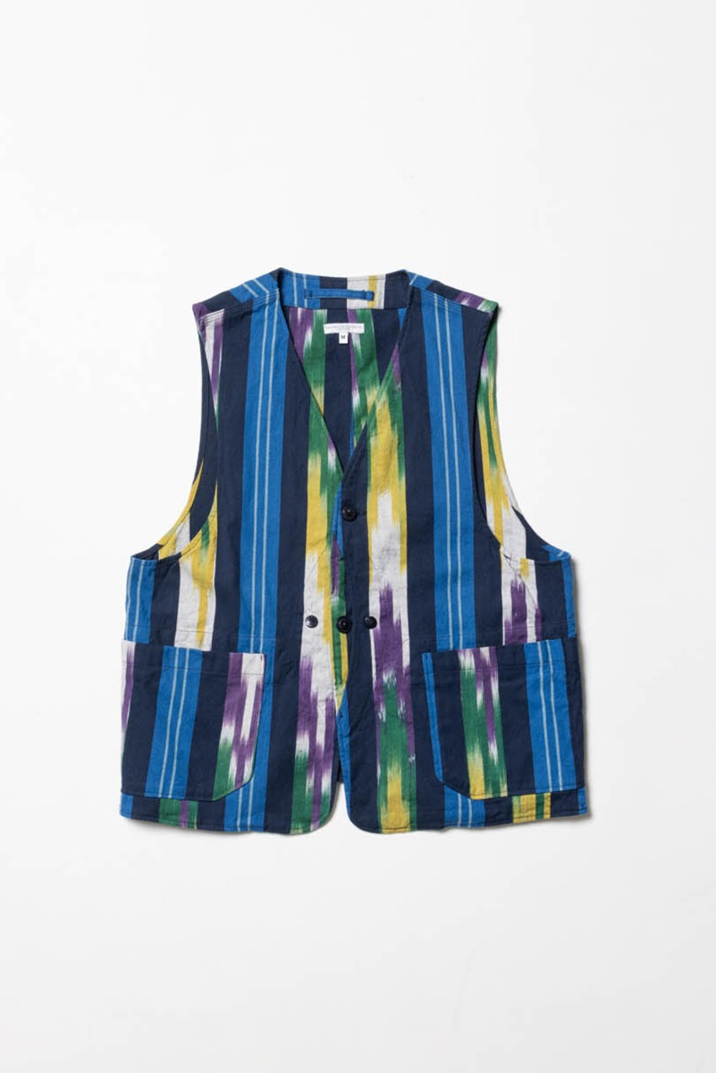 "ENGINEERED GARMENTS Upland Vest ""Blue/Green/Yellow Cotton Ikat"""