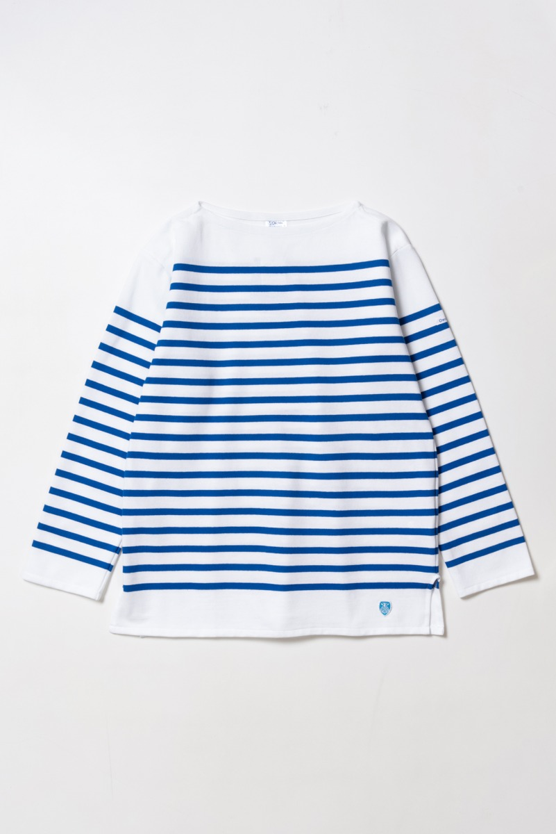 "ORCIVAL RACHEL Men Basque Shirt ""White x Blue"""