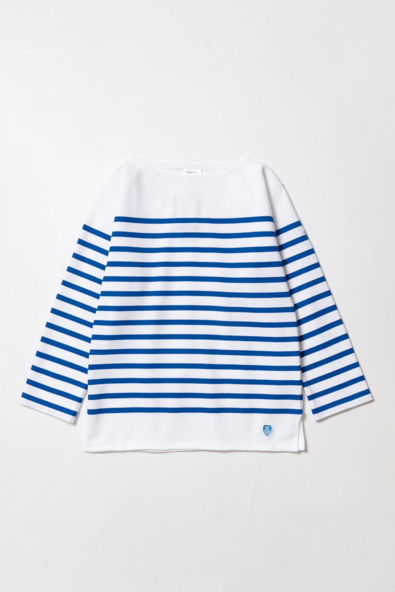 "ORCIVAL RACHEL Women Basque Shirt ""White x Blue"""