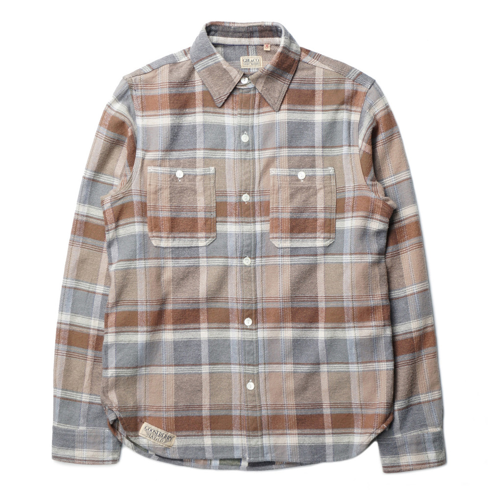 "Gooseberry Lay & Co. Pete Outdoors Men's Heavy Twill Shirts ""Brown horizontal Stripe"""