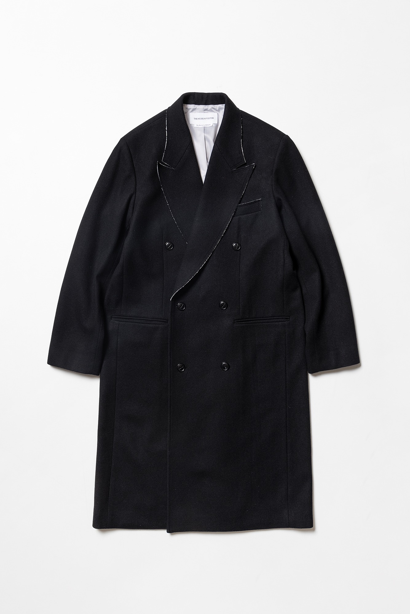 "THE MUSEUM VISITOR Blooming Low Edge Wool Coat ""Black"""