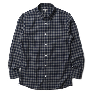 "BANTS Flannel Round Collar Shirt ""Navy x Grey"""