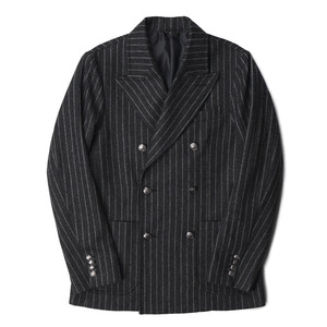 "BANTS Wool Flannel Stripe Double Breasted Jacket ""Grey"""