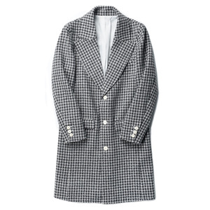 "OOPARTS Notch-Lapel Wool Coat ""White x Black Circle Check"""