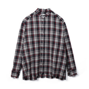 "OOPARTS OPT18FWSH02CH Wool check shirt ""Charcoal"""