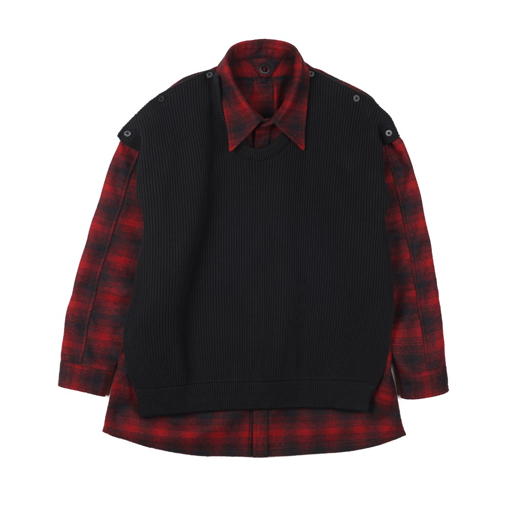 "OOPARTS  Layred wool shirts ""Black"""