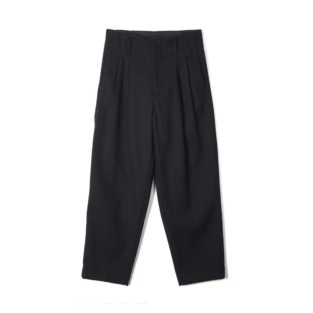 "OOPARTS Two Pleats Carrot-Fit Wool Pants ""Dark Navy"""