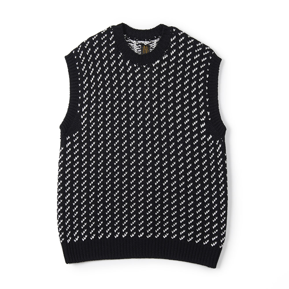 "BATONER Bird's Eye Jacquard Vest ""Black"""