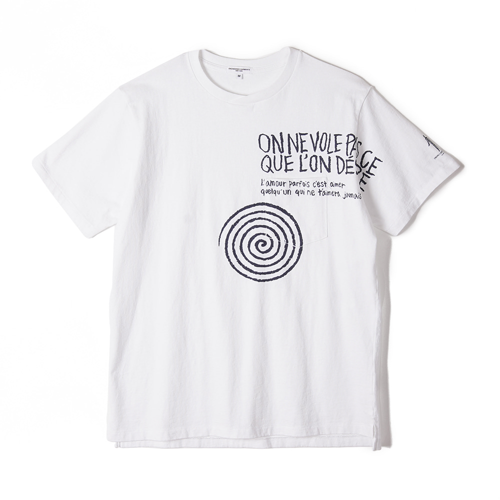 "ENGINEERED GARMENTS W/Spiral Print Printed Cross Crew Neck T-Shirt ""White"""