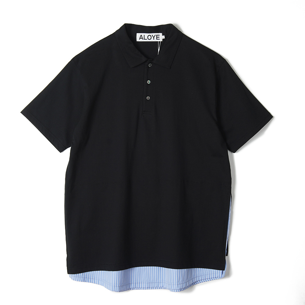 "ALOYE Shirt Fabrics Short Sleeve Layerd Polo Shirt ""Black"""