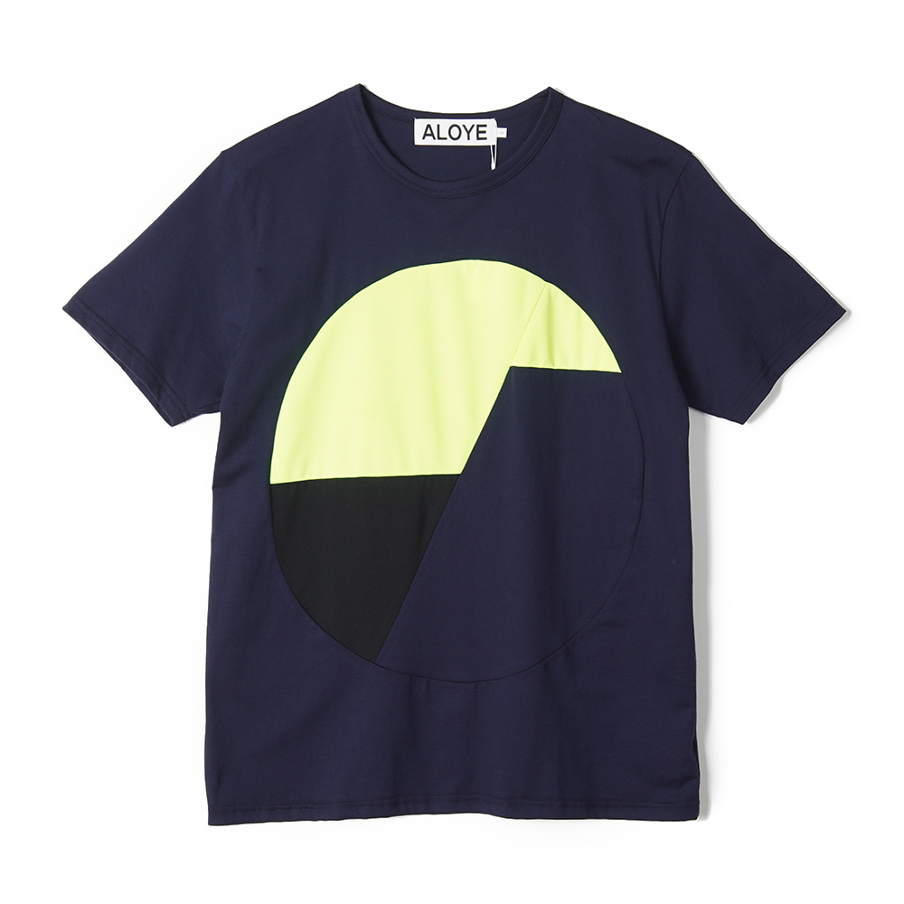 "ALOYE Color Blocks Short Sleeve T-shirt ""Navy-Yellow"""