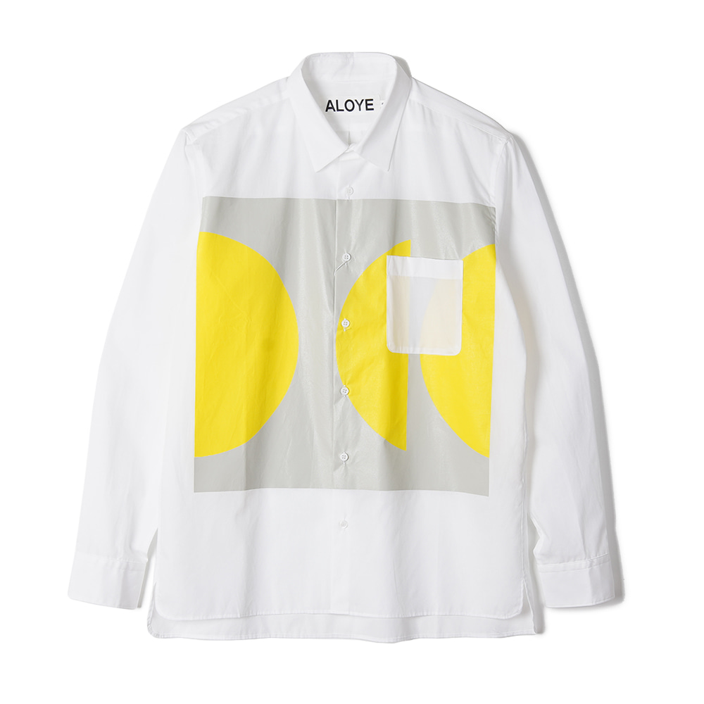 "ALOYE Color Blocks Long Sleeve Shirt ""White-Gray-Yellow"""