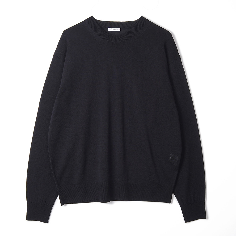 "TRICOTER Summer Yarn Crew Neck Pullover ""Black"""