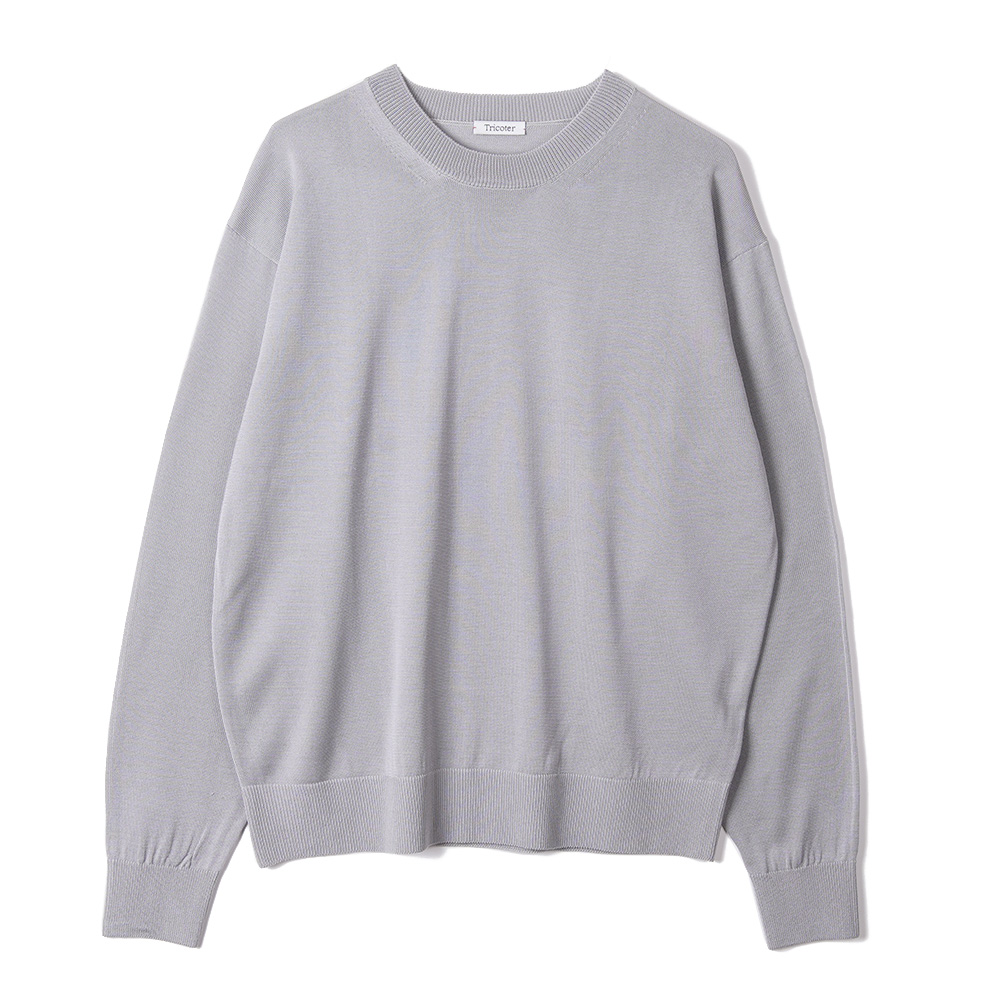 "TRICOTER Summer Yarn Crew Neck Pullover ""Blue Grey"""