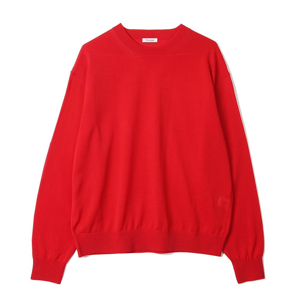"TRICOTER Summer Yarn Crew Neck Pullover ""Deep Red"""