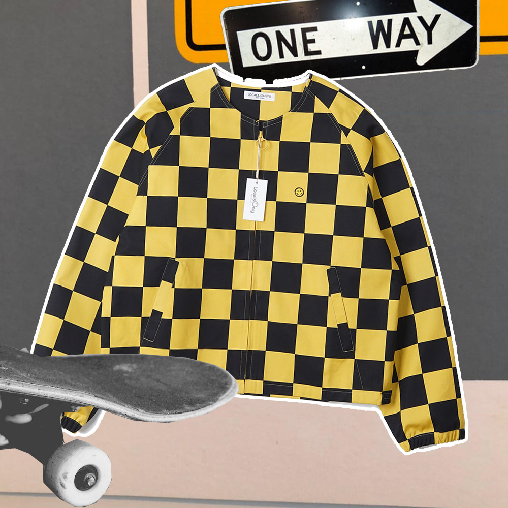 "LOCALS ONLY Checker board Collarless Jacket ""Black/Yellow"""