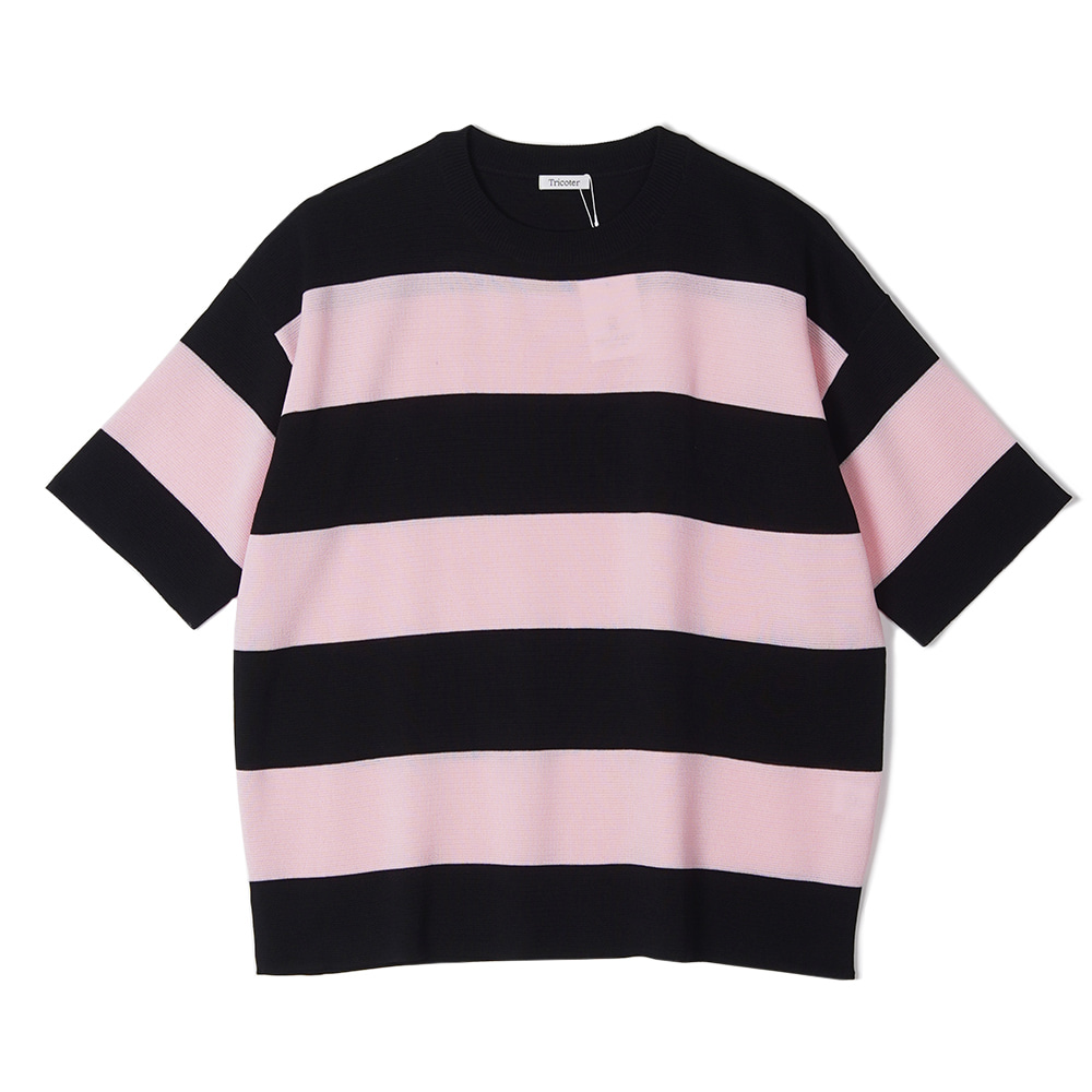 "TRICOTER Summer Yarn Double Face Border knit ""Pink/Black"""