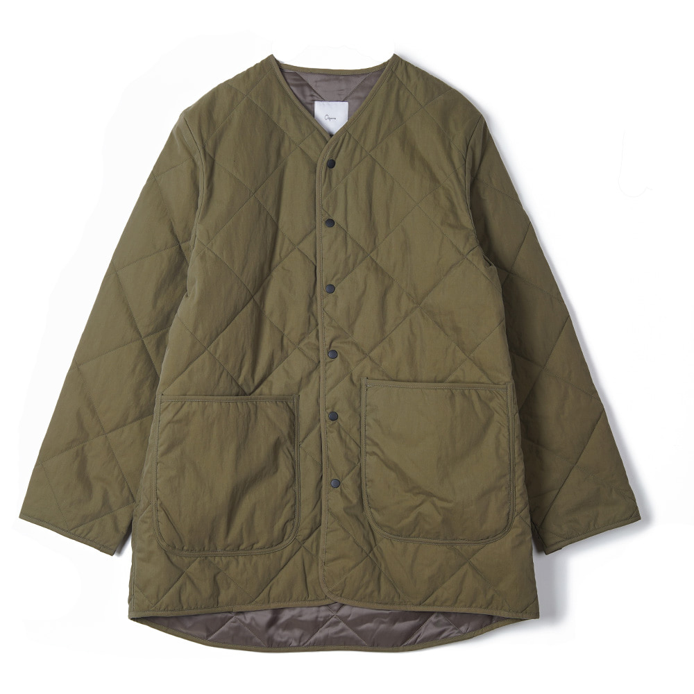 "OOPARTS Round Neck Quilted Coat ""Olive"""