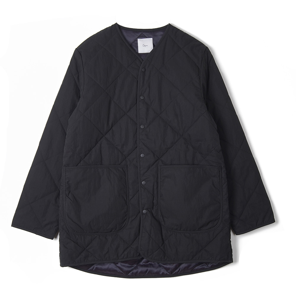 "OOPARTS Round Neck Quilted Coat ""Black"""