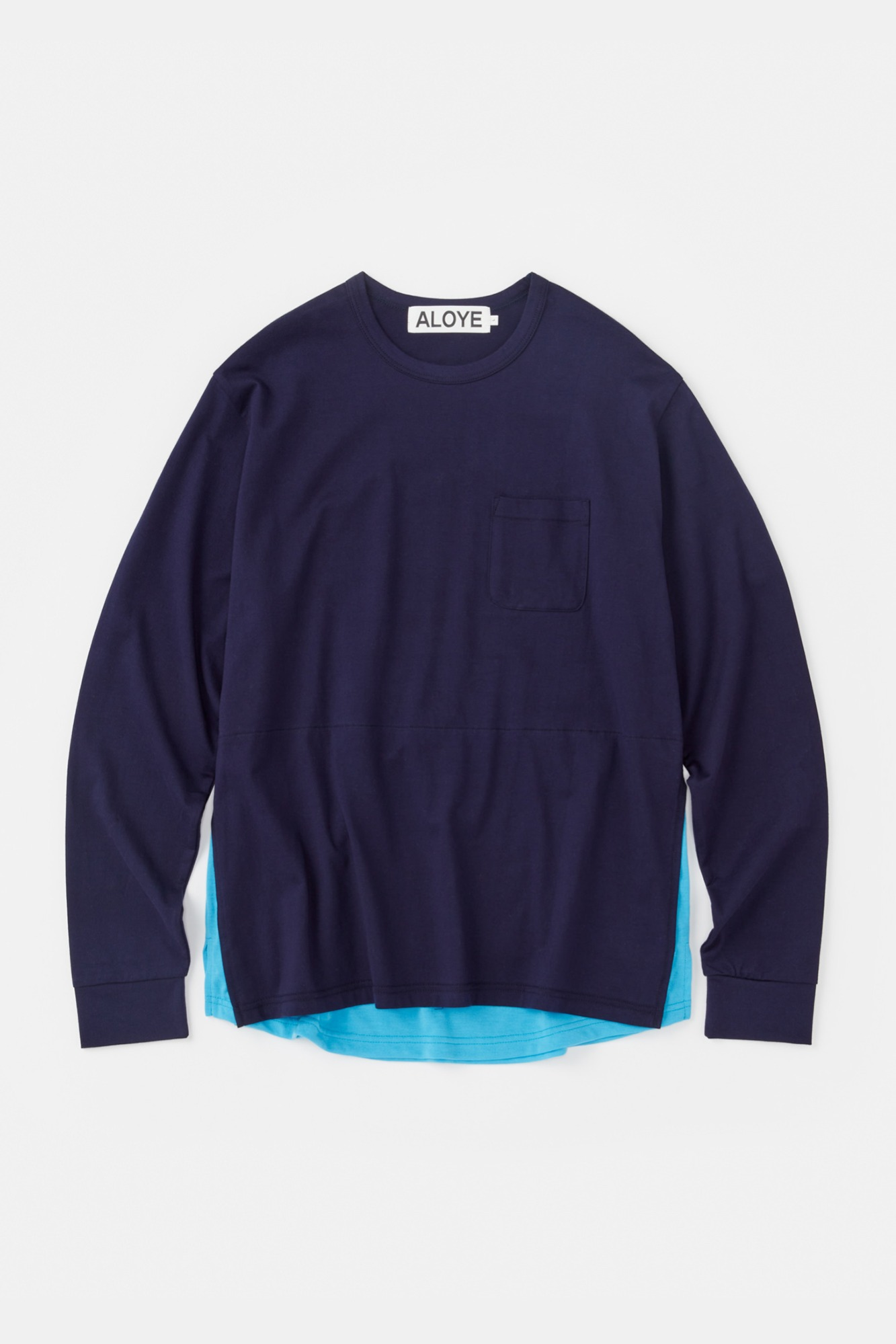 "ALOYE Shirt Fabrics Long Sleeve Layerd T-shirt ""Navy"""