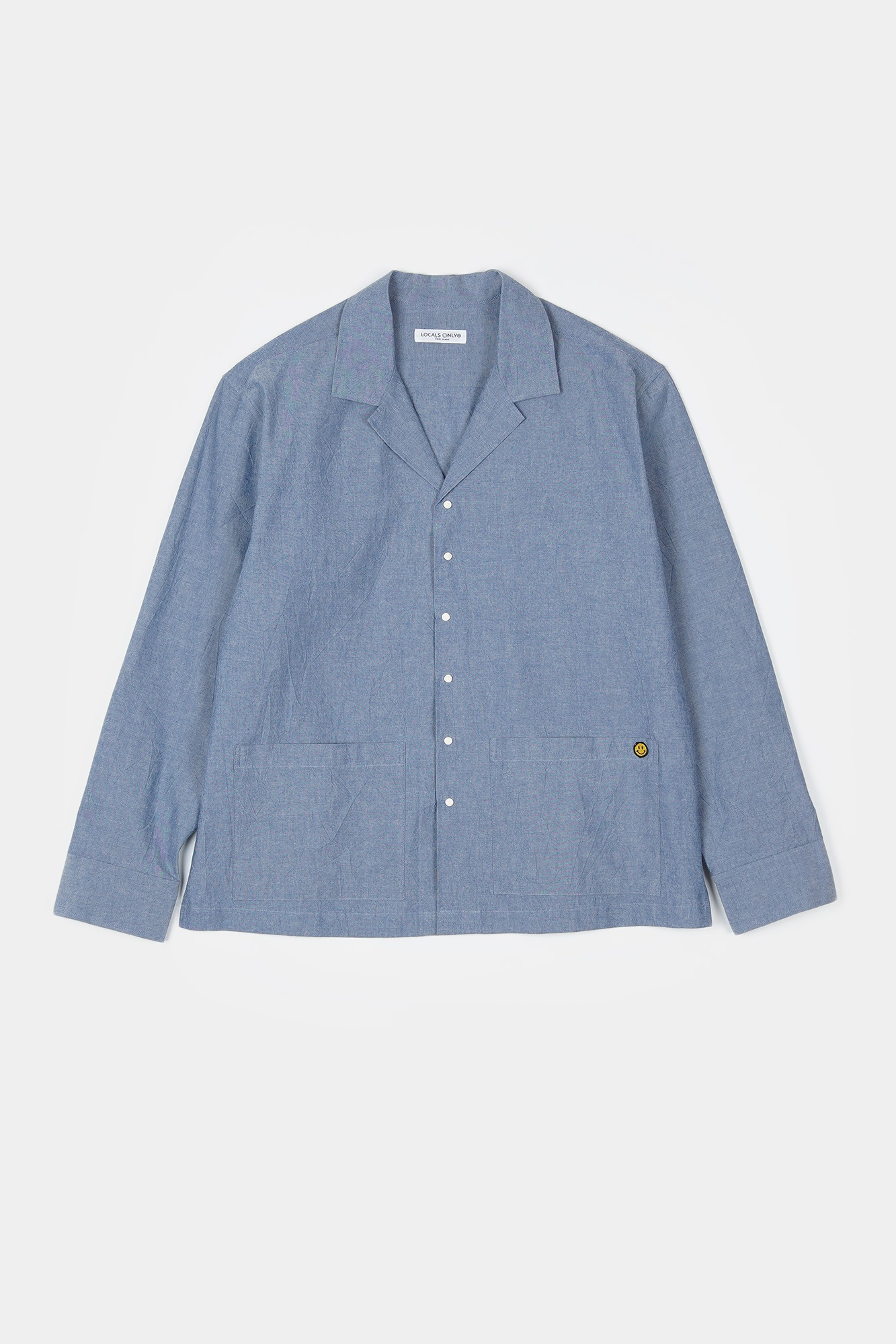 "LOCALS ONLY Chambray Open Collar Shirts Jacket ""Indigo"""
