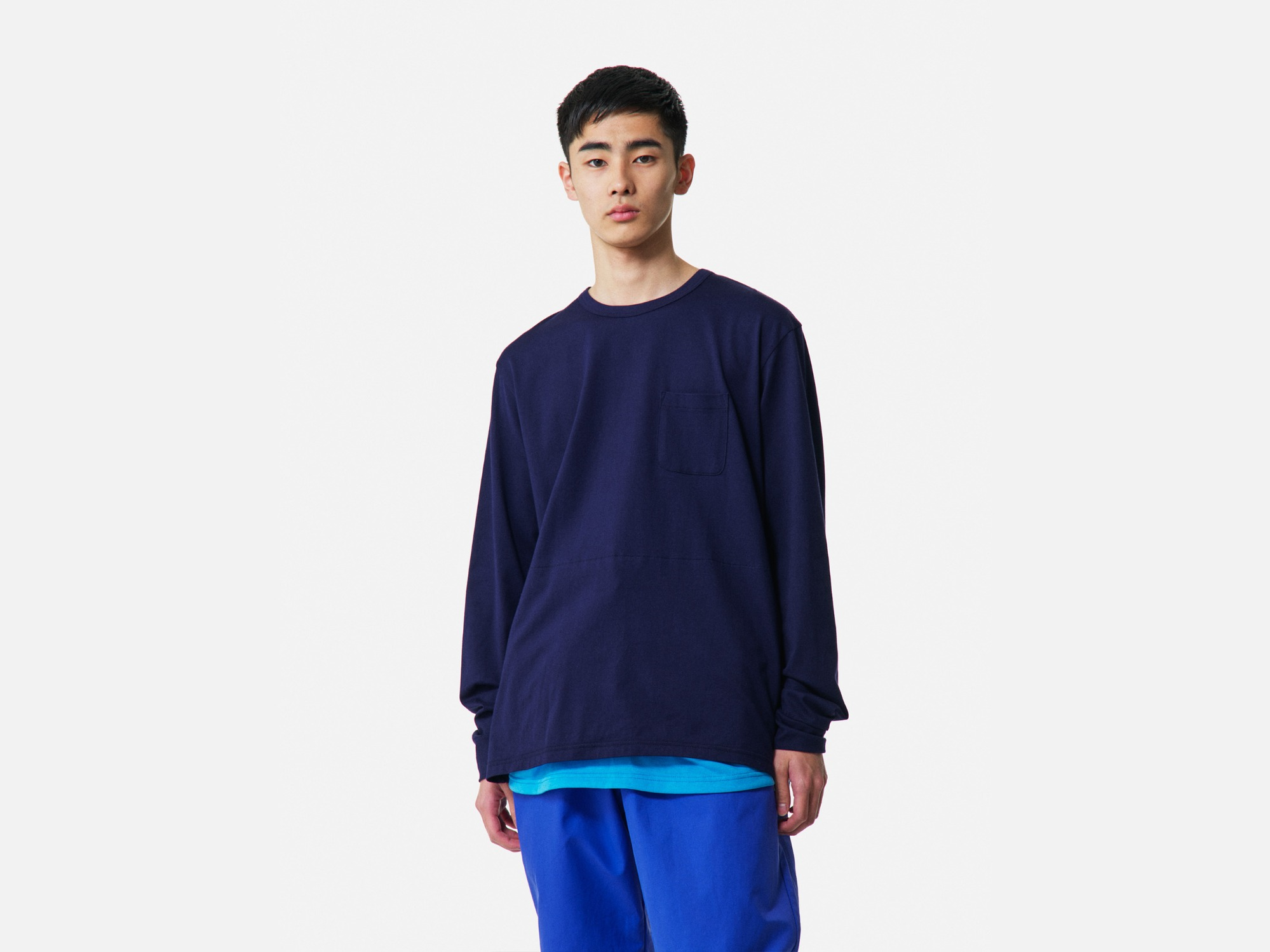 "★ALOYE Shirt Fabrics Long Sleeve Layerd T-shirt ""Navy"""