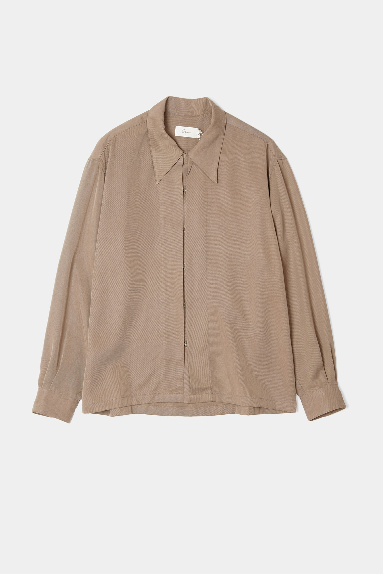 "OOPARTS Open collar tencel shirts ""Latte"""