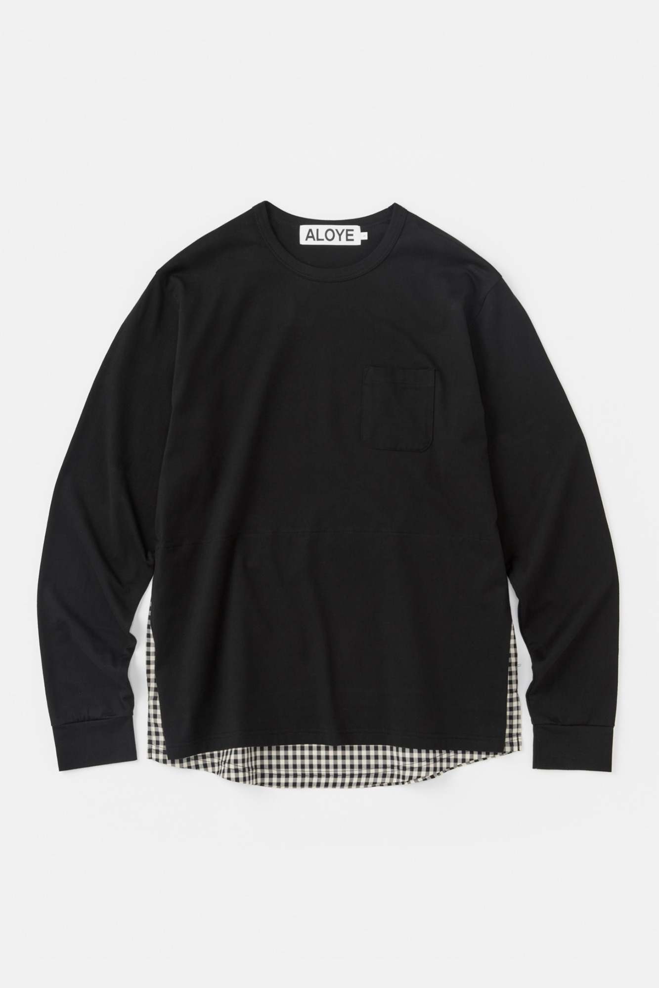 "ALOYE Shirt Fabrics Long Sleeve Layerd T-shirt ""Black"""
