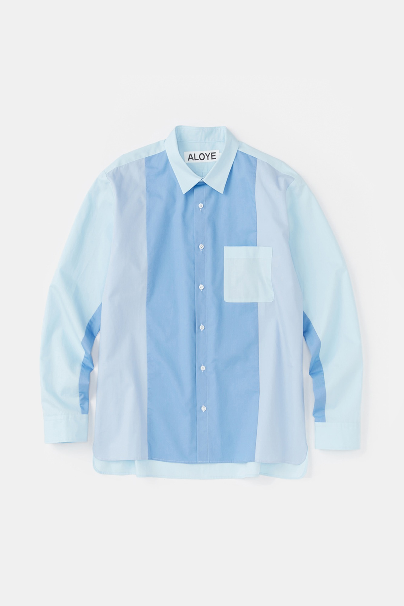 "ALOYE Color Blocks Long Sleeve Shirt ""Blue"""