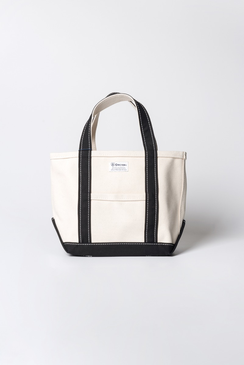 "ORCIVAL Small 24oz HANPU Canvas Tote Bag ""Ecru x Black"""
