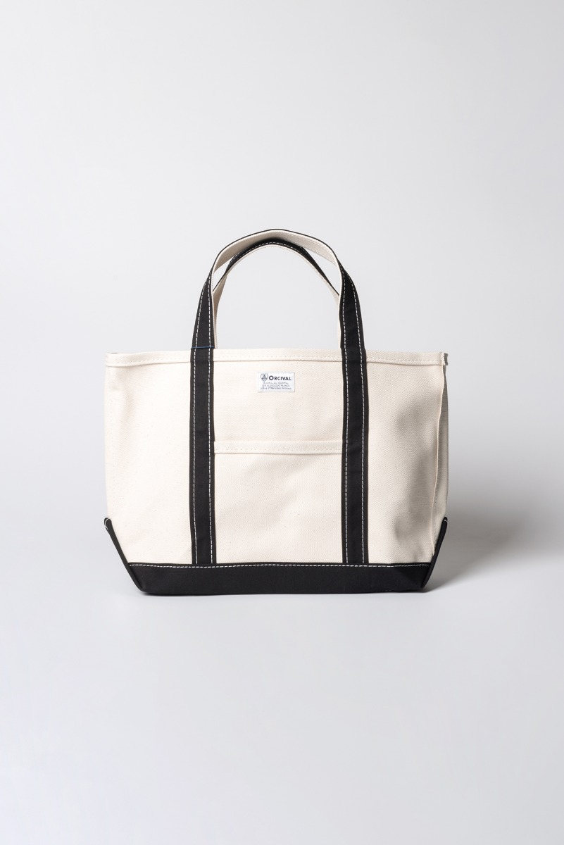"ORCIVAL Large 24oz HANPU Canvas Tote Bag ""Ecru x Black"""