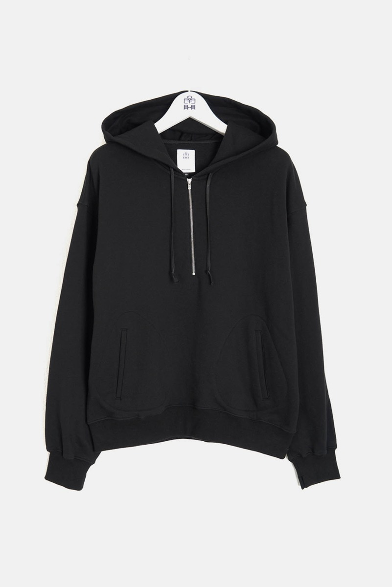 "POLYTERU 1/2 Zip Sweat Hoodie ""Black"""