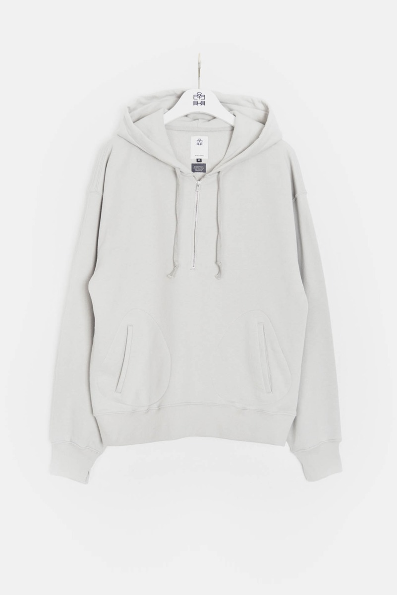 "POLYTERU 1/2 Zip Sweat Hoodie ""L.Grey"""