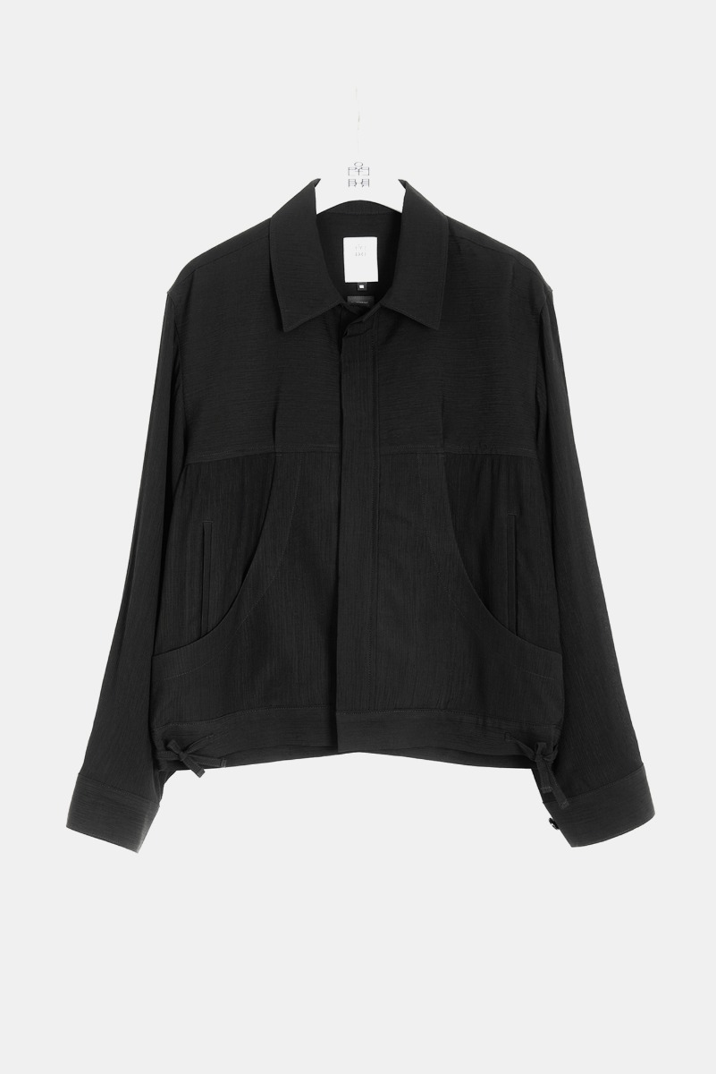 "POLYTERU Pleated Trucker Jacket ""Black"""