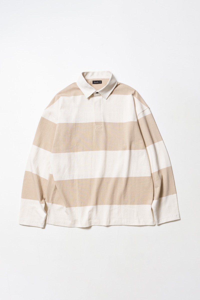 "Nocle Wide Border Rugby Shirts ""Ivory/Beige"""