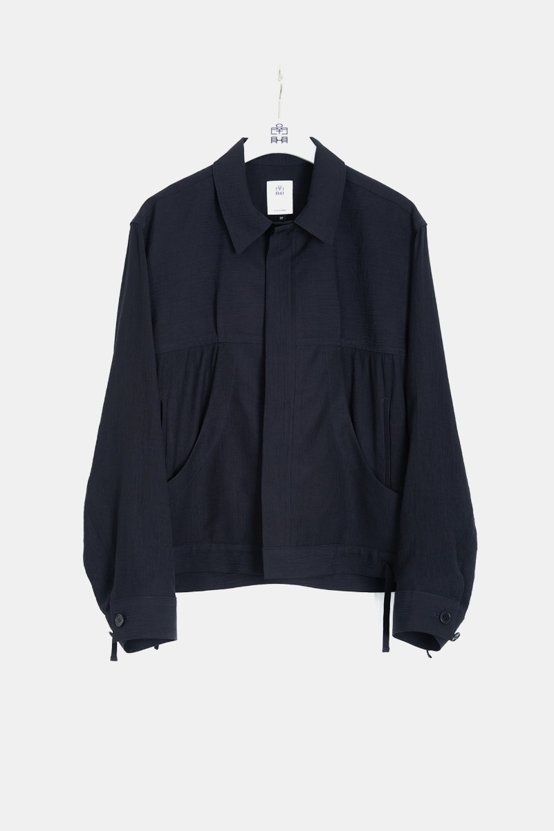 "POLYTERU Pleated Trucker Jacket ""Navy"""